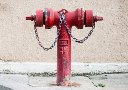 fire hydrant: old red metallic fire hydrant or Fire Department Connection on street