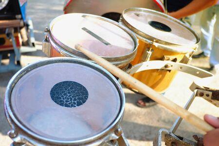 Musician play drums on street Stok Fotoğraf