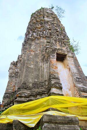 Ancient pagoda in Thai buddhist temple, Ratchaburi Thailand