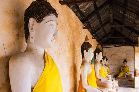 Group of Buddha statue in Buddhist Temple, Ratchaburi Thailand