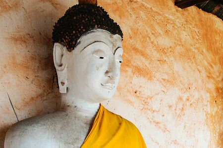 White face of Buddha statue in Buddhist Temple, Ratchaburi Thailand Stok Fotoğraf