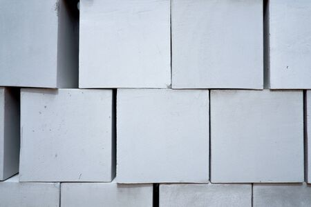 Stack of white cement brick texture background