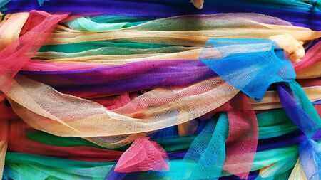 Colored fabric to tie the tree, Colors fabric tie for thai believe it shows respect and worship