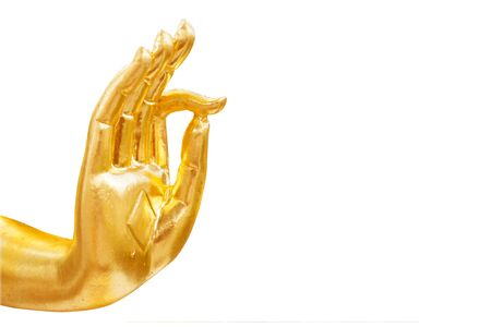 Golden hand of buddha statue isolated on white background Stok Fotoğraf