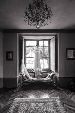 Wedding dress waiting to be worn by the bride