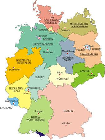 Mapa de Alemania, de las fronteras nacionales y de las capitales nacionales Ilustración de vector