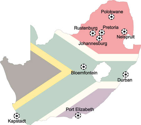 Map of venues soccer worldcup 2010 in South Africa Vector