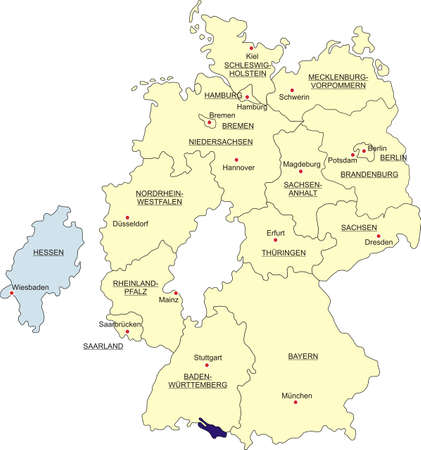 boundaries: Map of Germany, national boundaries and national capitals. State of Hesse cut out and separated Illustration