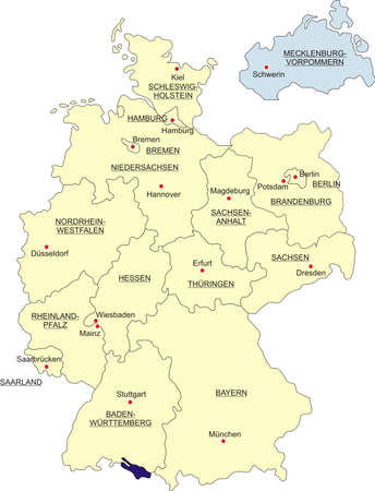 boundaries: Map of Germany, national boundaries and national capitals. State of Mecklenburg-Western Pomerania cut out and separated Illustration