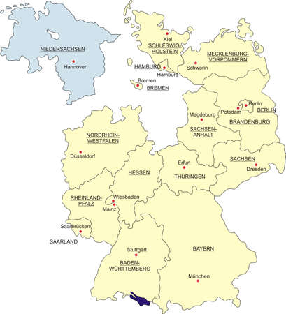 Map of Germany, national boundaries and national capitals. State of Lower Saxony cut out and separated