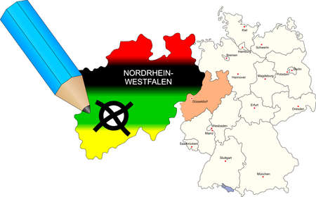 coalition: North Rhine-Westphalia state election 9th May 2010. state dyed in the colors of the most important parties