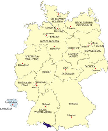 boundaries: Map of Germany, national boundaries and national capitals. State of Saarland cut out and separated Illustration