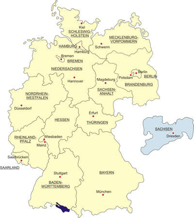 boundaries: Map of Germany, national boundaries and national capitals. State of Saxony cut out and separated