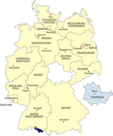 boundaries: Map of Germany, national boundaries and national capitals. State of Thuringia cut out and separated