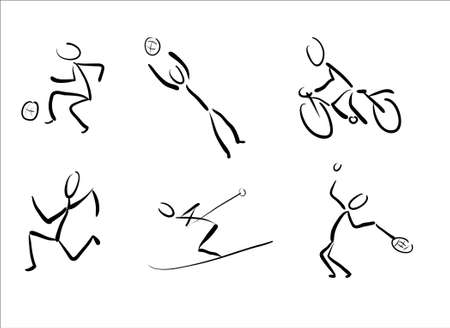bonhomme allumette: Stickmans comme sport pictogrammes  Banque d'images