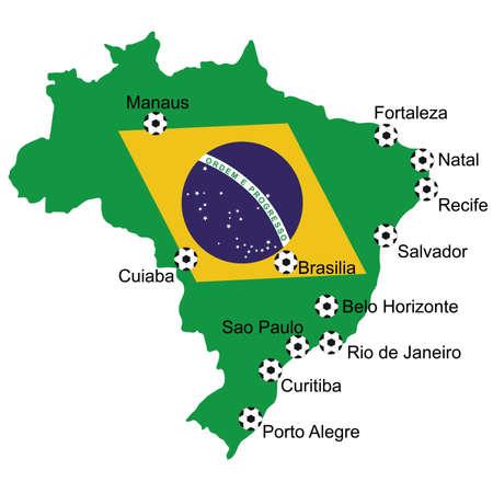 venues: Map of venues soccer 2014 in Brazil
