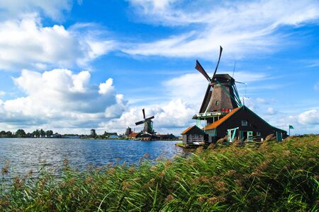 Holland windmill with blue sky Stock Photo