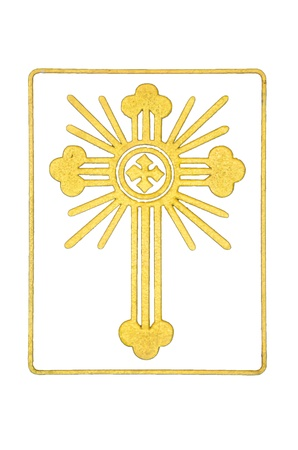 Gold cross with radius in the square