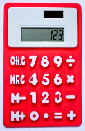 Red calculator 123  - top view isolated on white Stock Photo - 11786021