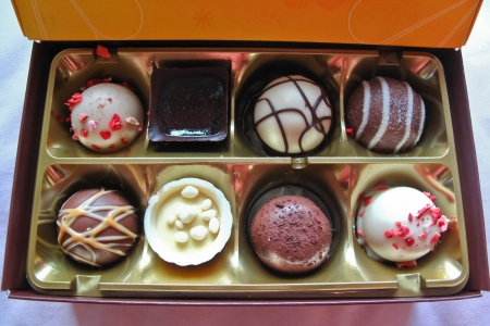 A box of colourful chocolate