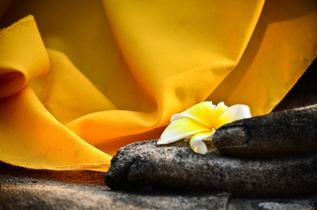 Plumeria flower on ancient hand of buddha statue Stock Photo