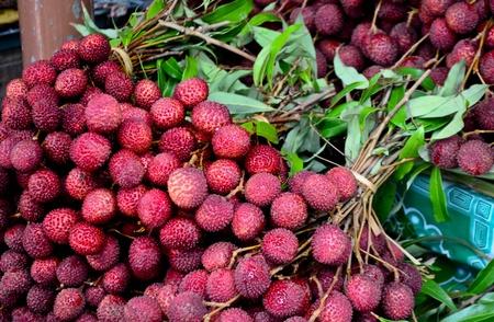 lichi: Bunch of lychee Stock Photo
