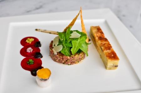 steak tartare: Tomahawk tartare Stock Photo