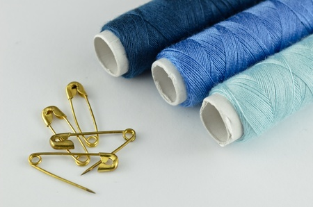 craft material tinker: Blue sewing kit Stock Photo