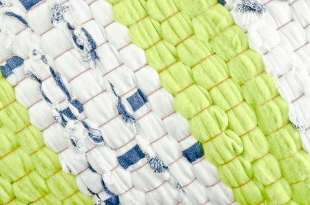 Cloth texture - green and white photo