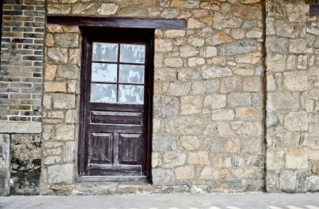 Old wall with doors photo