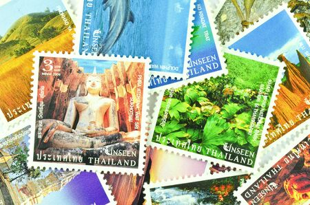 Thai stamp - tourist places in thailand