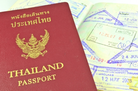 Thai passport and immigration stapms photo