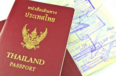 Thai passport and immigration stapms Stock Photo