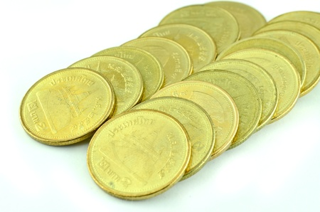 Thai coin 2 baht gold photo
