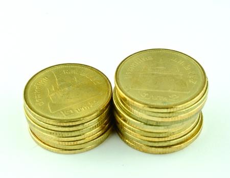 Thai coin 2 baht gold Stock Photo - 15655858