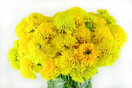 Close up yellow flower bouquet in the vase photo