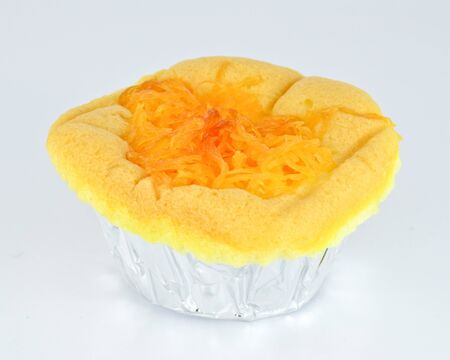 Sponge cake with golden threads thai dessert topping photo