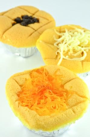 Sponge cake with golden threads thai dessert topping photo