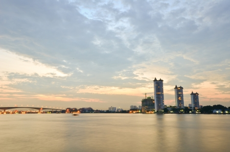 Bangkok city at sun set photo
