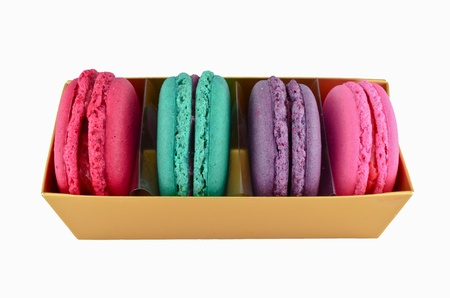 Macaroons in gold paper box Stock Photo - 16139753