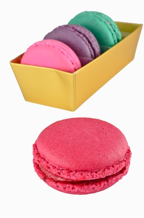 Macaroons in gold paper box Stock Photo - 16139754