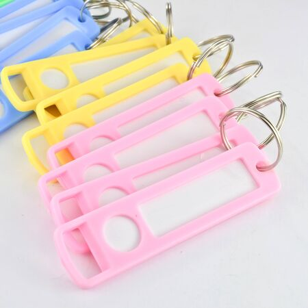 Colorful key chain with space for text isolated photo