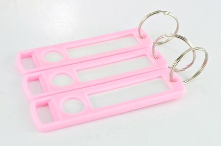 Pink key chain with space for text isolated photo