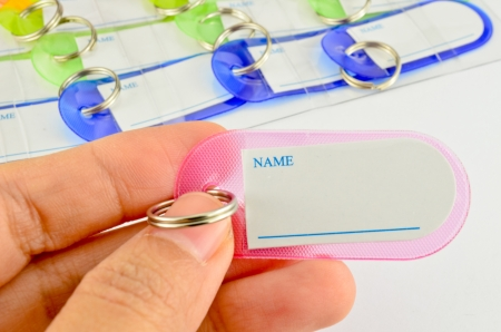 Hand holding key chain with space for text photo