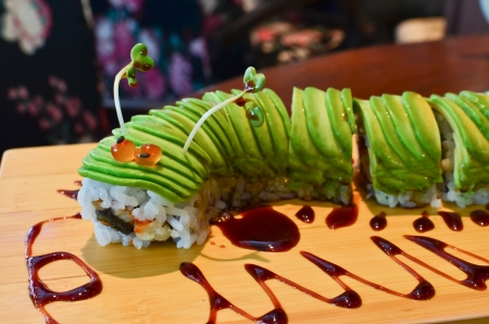 Little worm made by avocado sushi