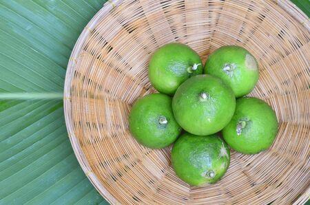 Fresh limes in basket
