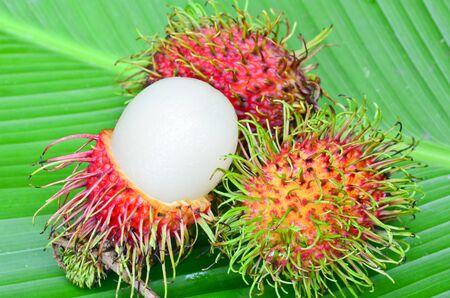 Rambutan on green leaf Stock Photo