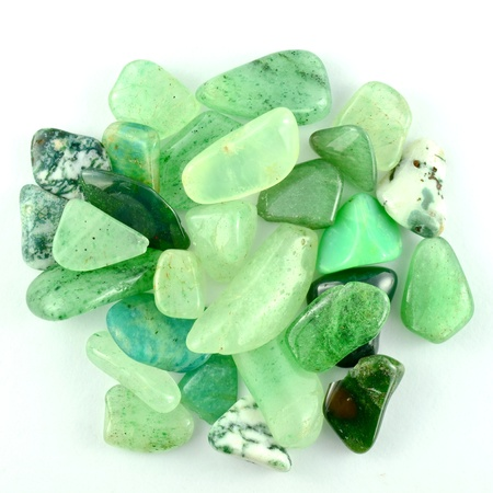 jade: Green stones isolated Stock Photo