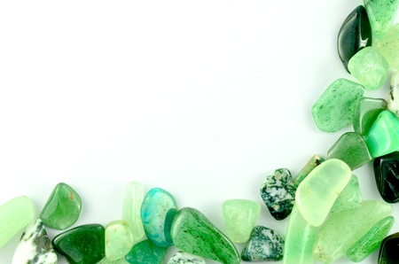 semiprecious: Green stones isolated Stock Photo