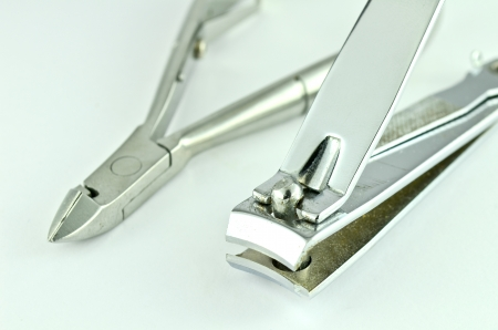 Stainless steel nail clippers isolated photo